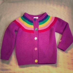 Hanna Andersson Girls Rainbow Cardigan Sweater